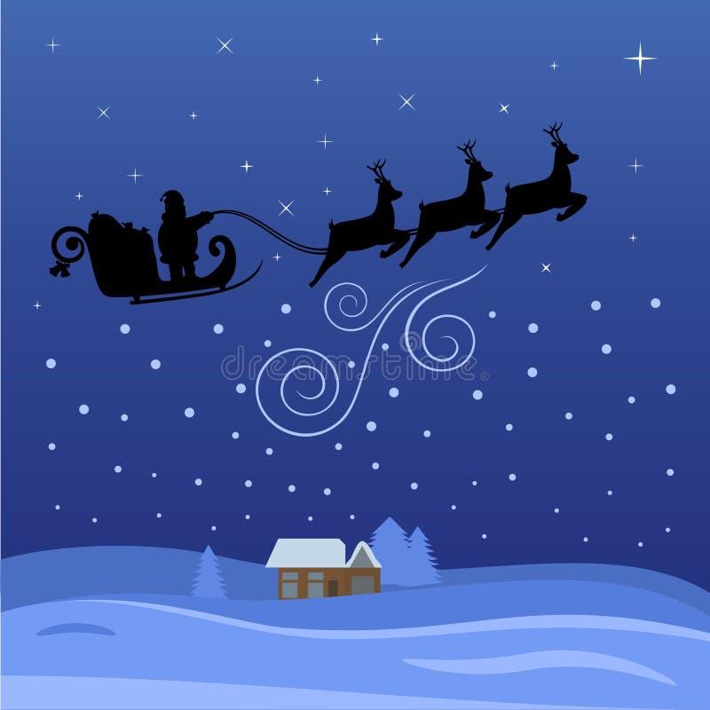 Vuelo de Papá Noel con la noche en la Navidad ilustración del vector