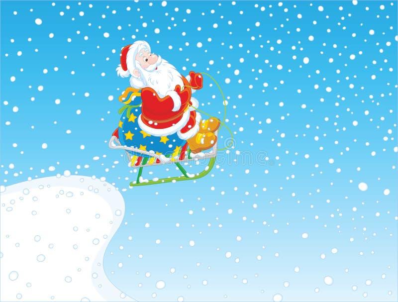 Vuelo de Papá Noel con los regalos en el trineo libre illustration