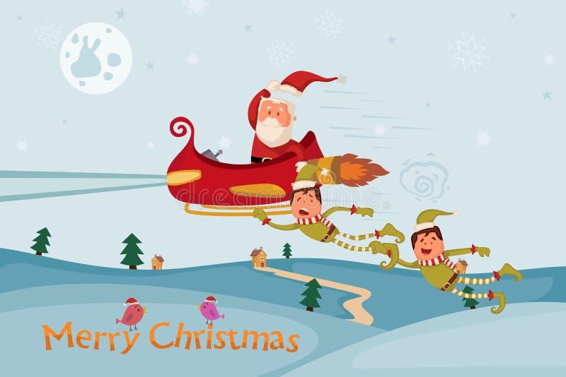 Vuelo de Papá Noel y del duende en el trineo para la Feliz Navidad ilustración del vector