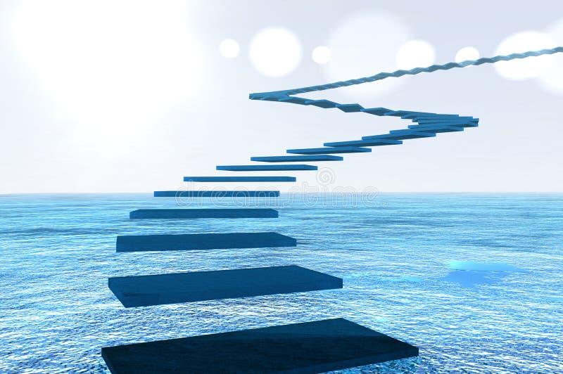 Vuelo de pasos de progresión azules ilustración del vector