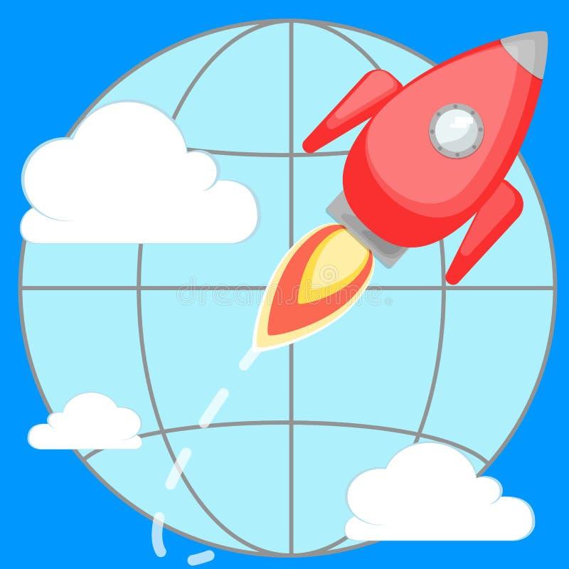 Vuelo de Rocket alrededor del planeta libre illustration