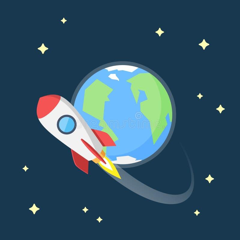 Vuelo de Rocket en espacio alrededor de la tierra ilustración del vector