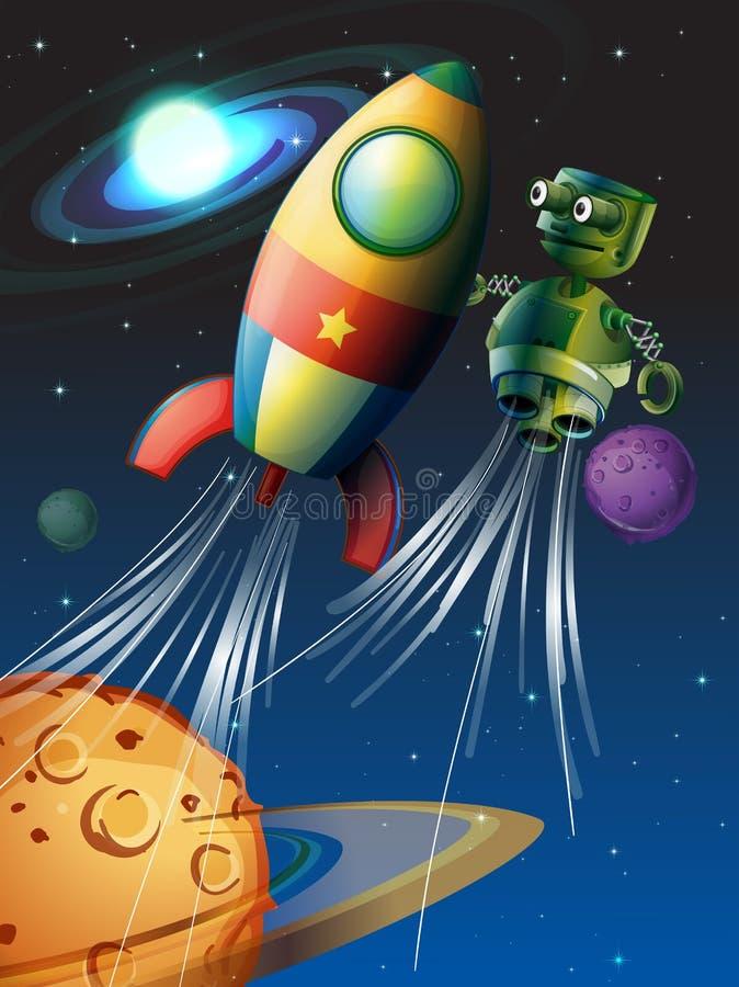 Vuelo de Rocket y del robot en el espacio ilustración del vector