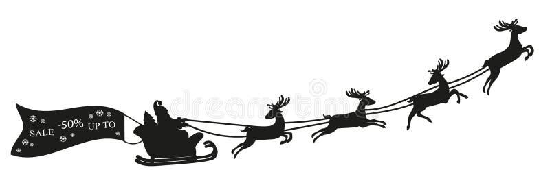 Vuelo de Santa Claus con la bandera de los ciervos y de la venta stock de ilustración