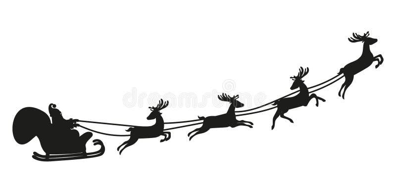 Vuelo de Santa Claus con los ciervos Silueta stock de ilustración