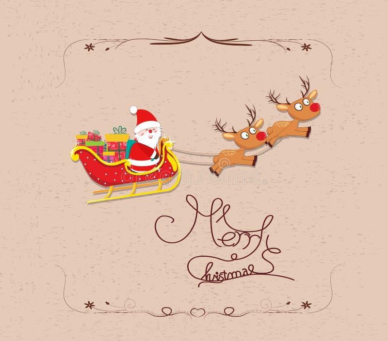 Vuelo de Santa Claus de la historieta de la Feliz Navidad libre illustration