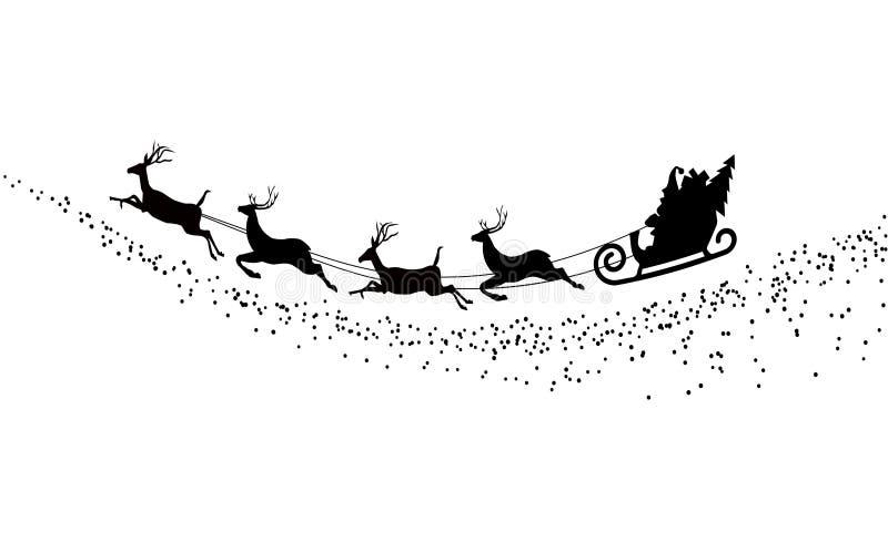 Vuelo de Santa Claus de la silueta con los ciervos ilustración del vector