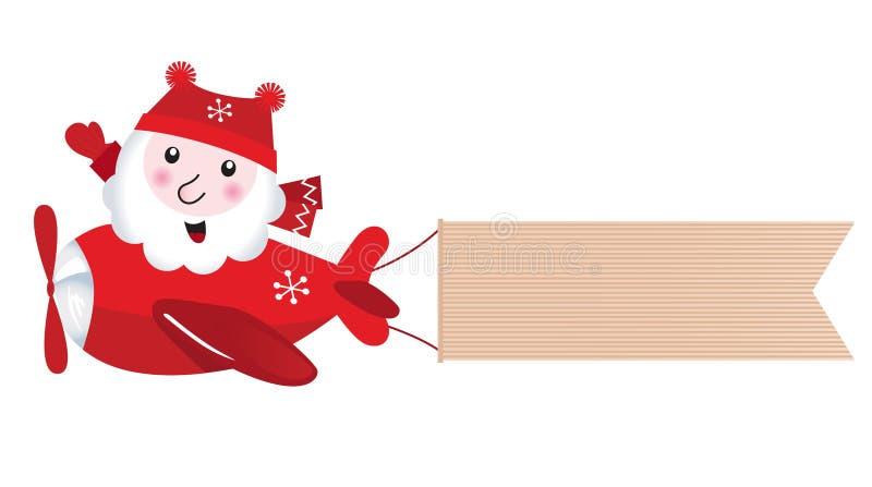 Vuelo de Santa en aeroplano de la Navidad ilustración del vector