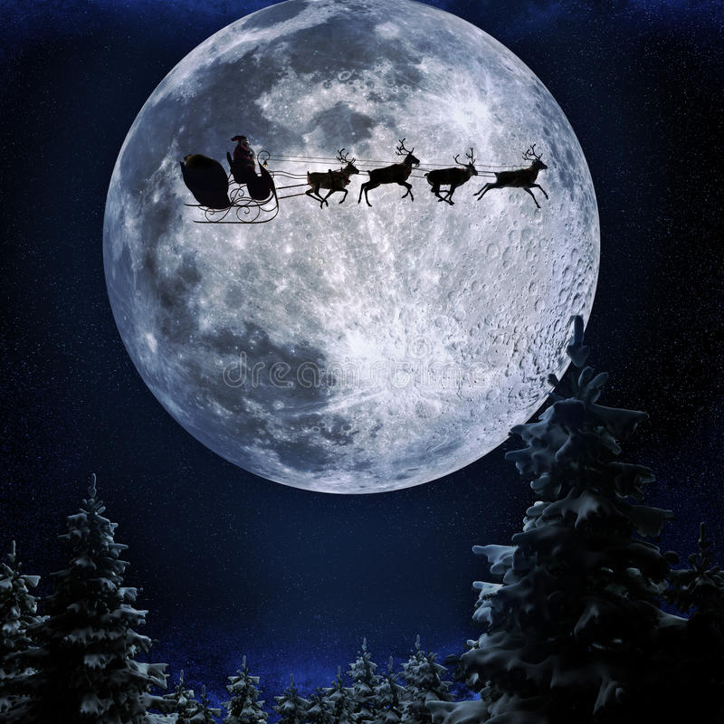 Vuelo de Santa en su trineo contra un fondo de la Luna Llena libre illustration
