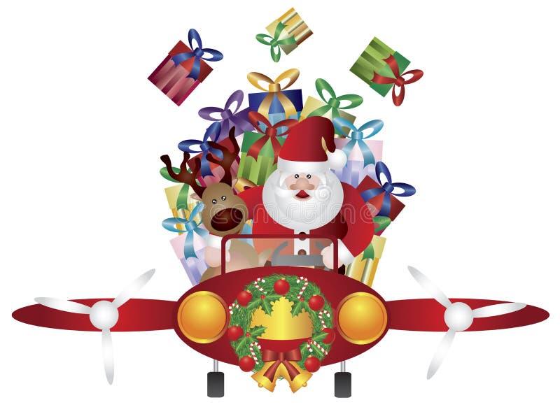 Vuelo de Santa y del reno en plano de la vendimia stock de ilustración