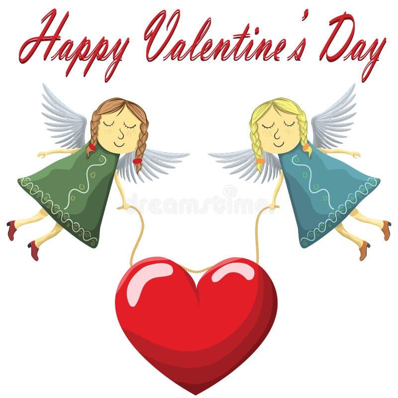 Vuelo de Valentine Fairys con el corazón aislado en el fondo blanco libre illustration