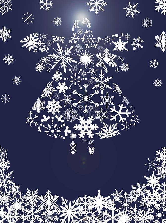 Vuelo del ángel de la Navidad con los copos de nieve ilustración del vector