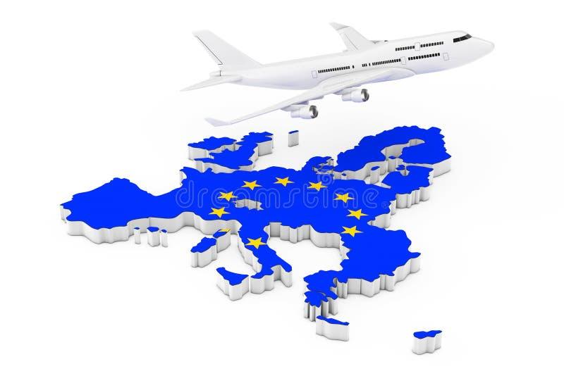 Vuelo del aeroplano de Jet Passenger blanco sobre mapa de la unión europea ilustración del vector