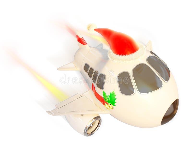Vuelo del aeroplano de la Navidad para entregar presentes libre illustration