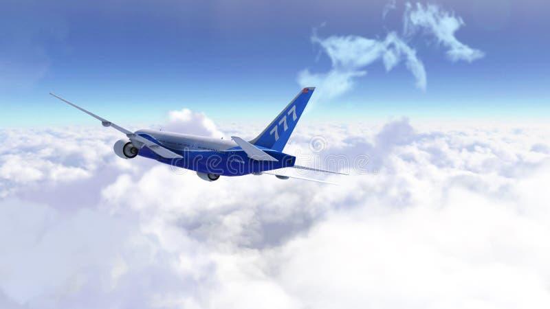 Vuelo del aeroplano del pasajero sobre el cielo nublado Viaje moderno del avión de pasajeros 3d rinden stock de ilustración