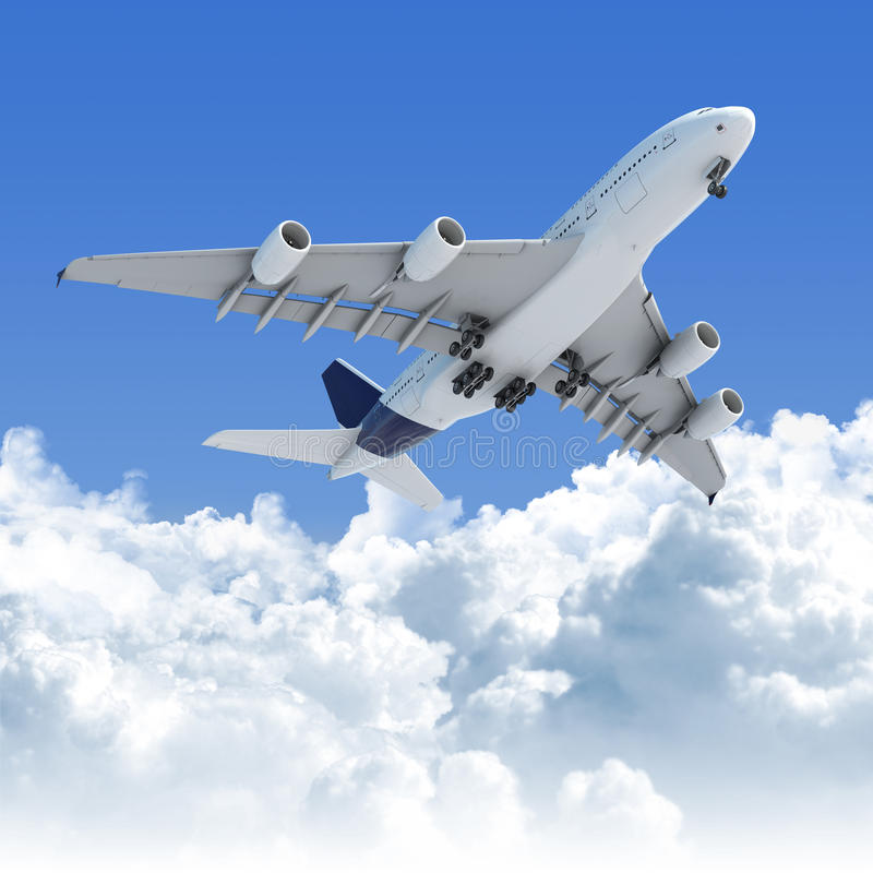 Vuelo del aeroplano sobre las nubes ilustración del vector