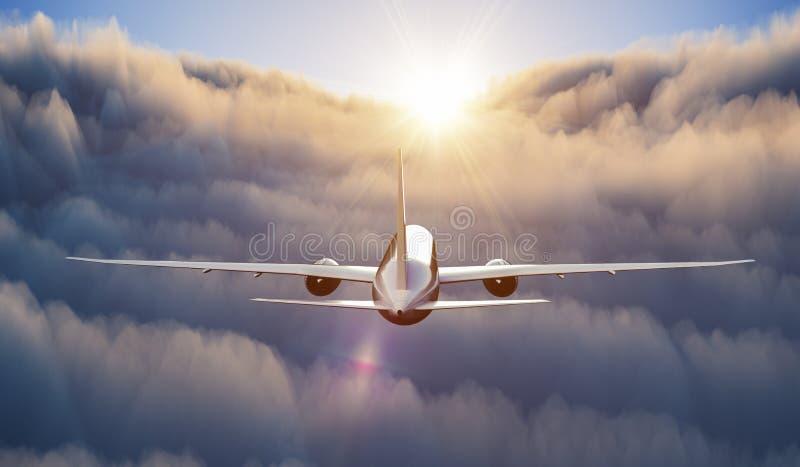 Vuelo del aeroplano sobre las nubes en el cielo en la puesta del sol 3D rindi? la ilustraci?n libre illustration
