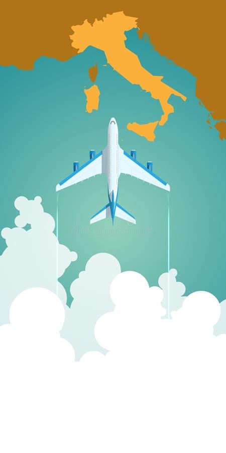 Vuelo del aeroplano a través de las nubes sobre el mapa de ilustración del vector