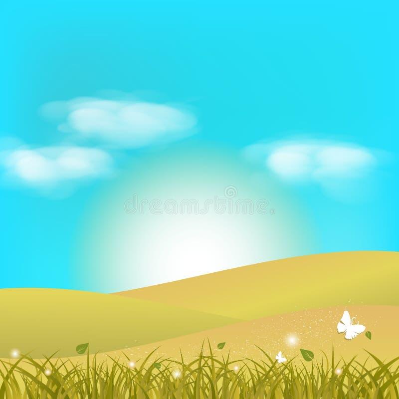 Vuelo del arte del papel de la fantasía de la mariposa en campo de hierba con las nubes adentro ilustración del vector