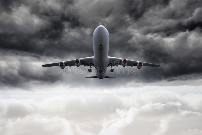vuelo del avión 3D en el cielo stock de ilustración