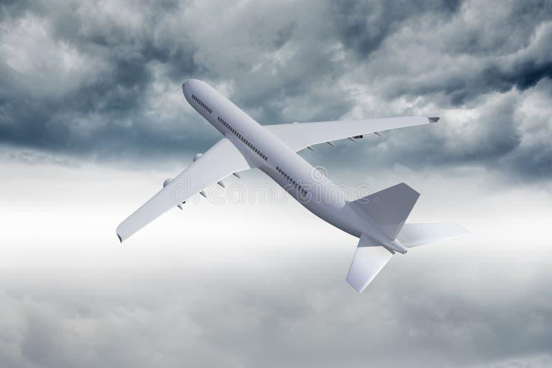 vuelo del avión 3D en el cielo ilustración del vector