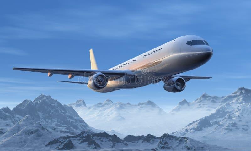 Vuelo del avión de pasajeros sobre las montañas nevosas libre illustration