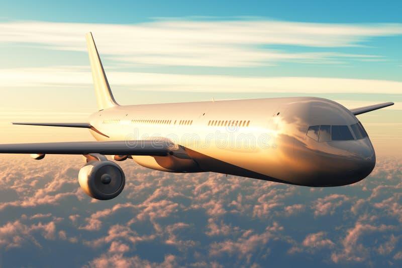 Vuelo del avión de pasajeros sobre las nubes en puesta del sol stock de ilustración