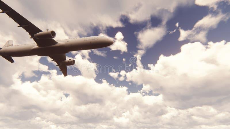 Vuelo del avión de pasajeros a través de las nubes en el cielo azul representación 3d libre illustration