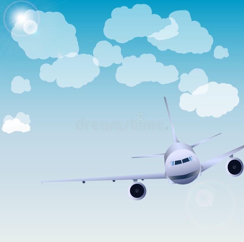 Vuelo del avión en cielo fotografía de archivo libre de regalías
