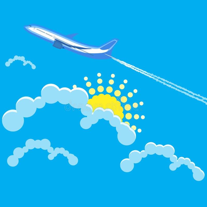 Vuelo del avión en el cielo nublado foto de archivo