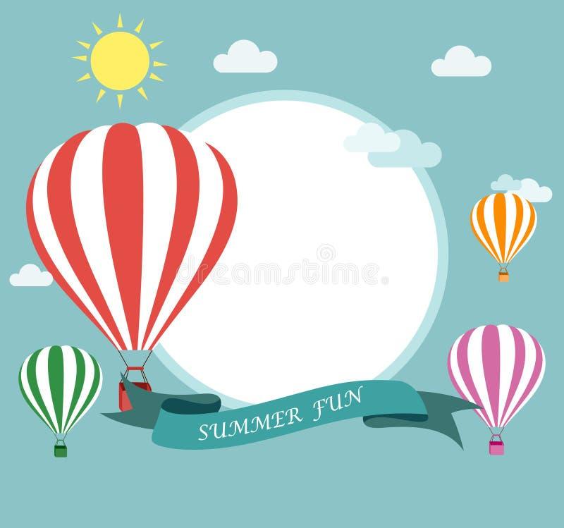 Vuelo del balón de aire ilustración del vector