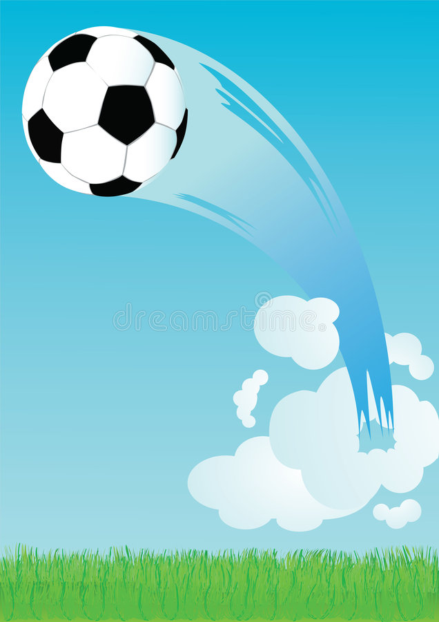 Vuelo del balón de fútbol stock de ilustración