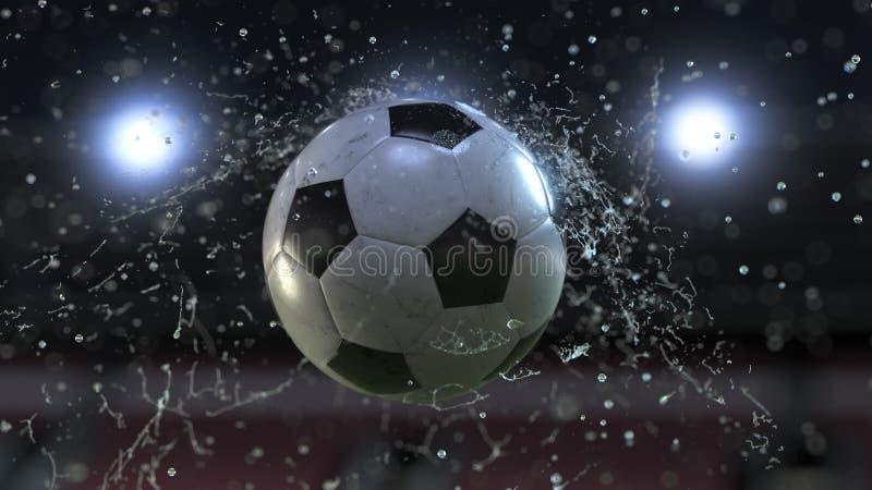 Vuelo del balón de fútbol con descensos del agua ilustración 3D ilustración del vector