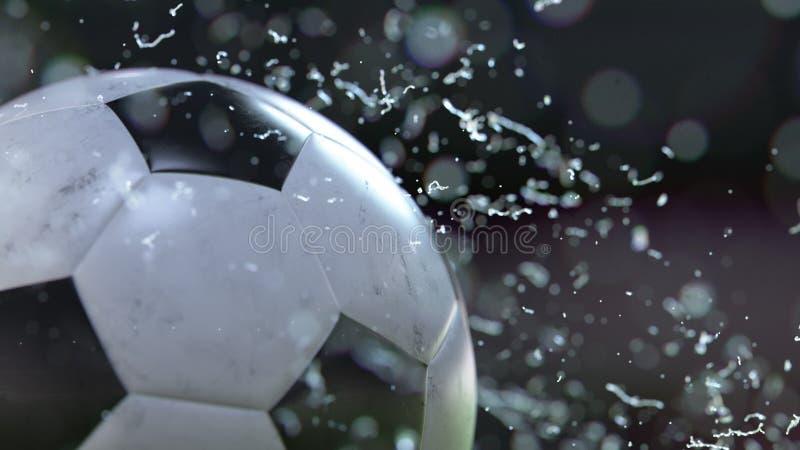 Vuelo del balón de fútbol con descensos del agua ilustración 3D libre illustration