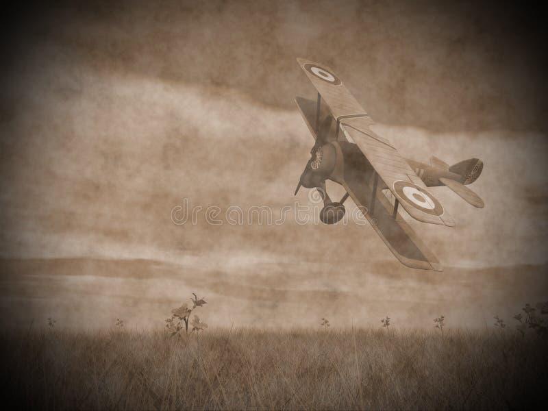 Vuelo del biplano - 3D rinden stock de ilustración