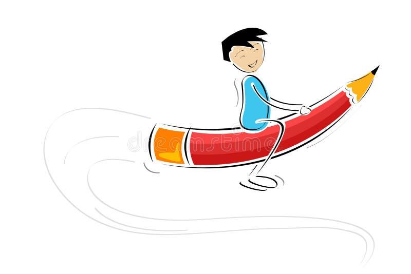 Vuelo del cabrito en el lápiz stock de ilustración