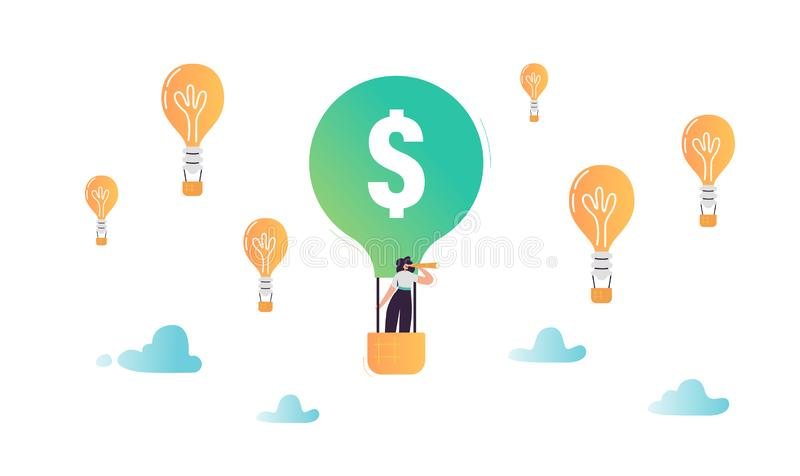 Vuelo del carácter de la mujer de negocios en globo del aire caliente en busca de la nuevos solución de la idea y concepto de la  libre illustration
