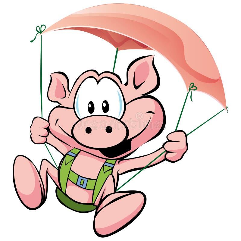 Vuelo del cerdo en el jamón libre illustration