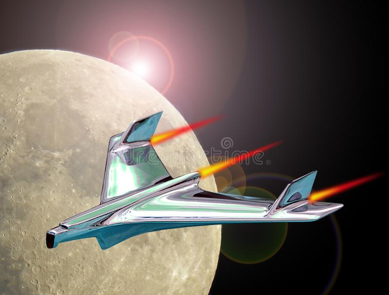 Vuelo del cohete del jet en el espacio que sale de órbita terrestre imagenes de archivo