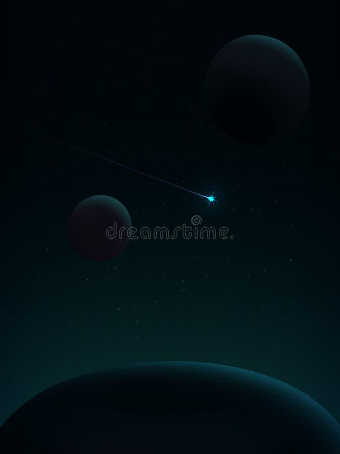Vuelo del cometa Paisaje del espacio ilustración del vector