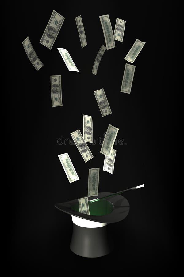 Vuelo del dinero fuera de un sombrero mágico