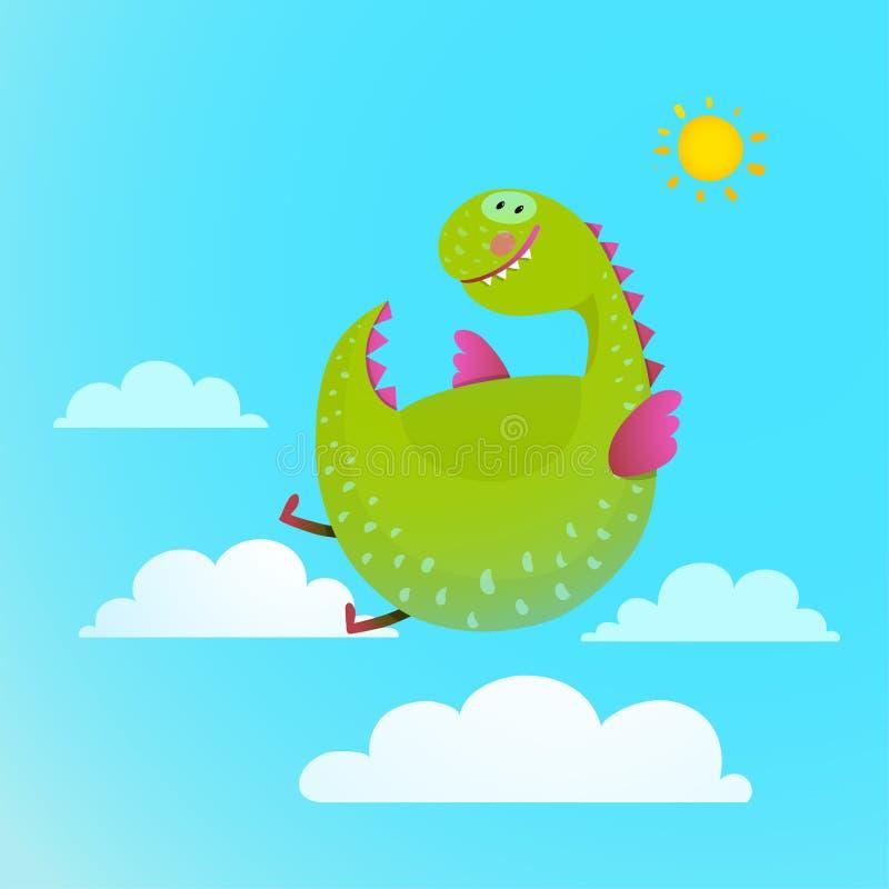 Vuelo del dragón en la historieta colorida del cielo para los niños ilustración del vector