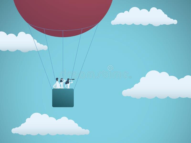 Vuelo del equipo del negocio en globo del aire caliente Símbolo de la visión, de la misión, de la estrategia y del trabajo en equ ilustración del vector
