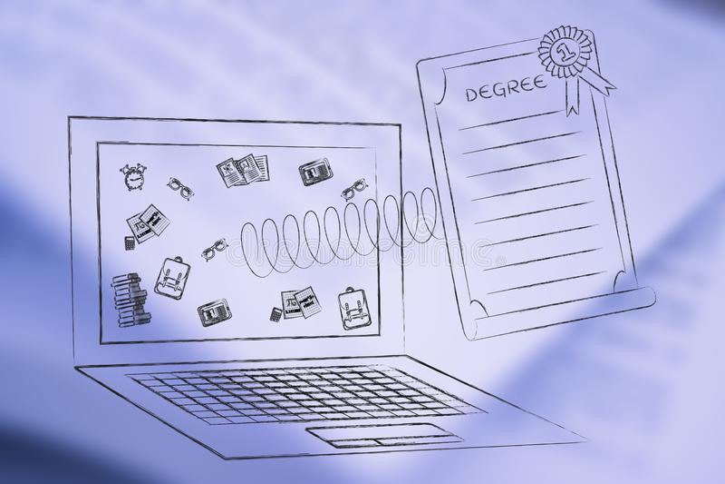 Vuelo del grado fuera de la pantalla del ordenador portátil en una primavera ilustración del vector