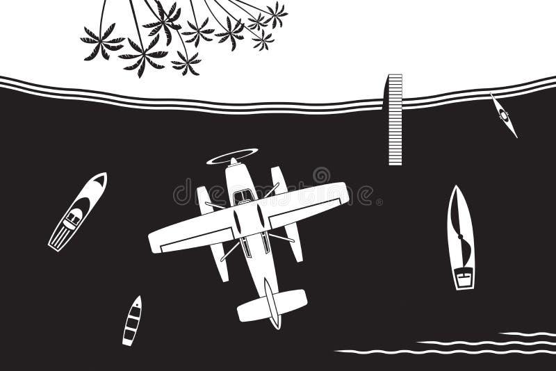 Vuelo del hidroavión a la isla en el mar stock de ilustración
