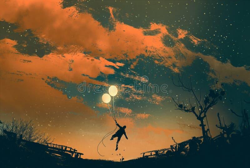Vuelo del hombre con las luces del globo en la puesta del sol libre illustration