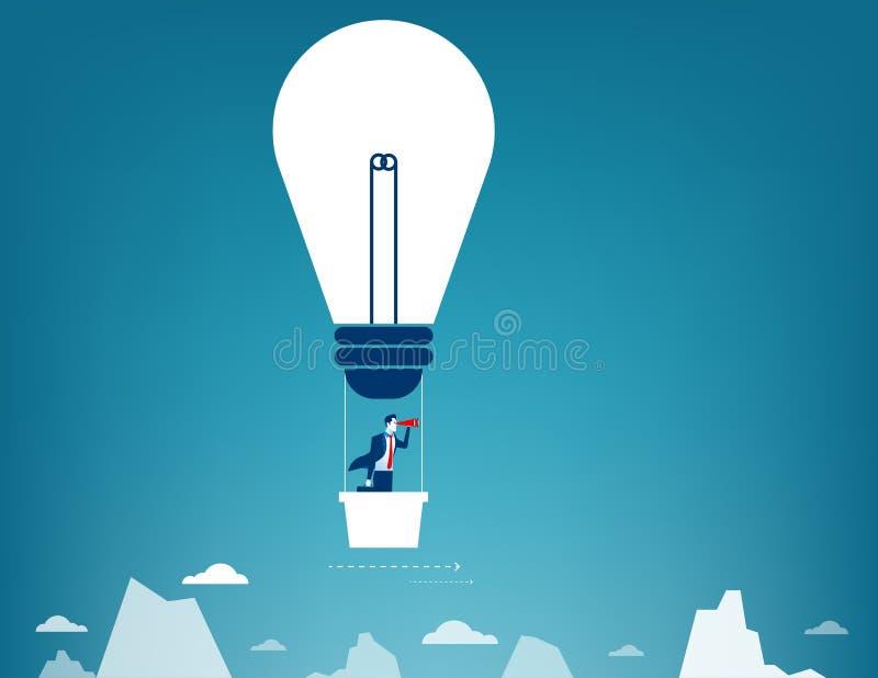 Vuelo del hombre de negocios en el cielo en el globo del aire caliente Mirada encima ilustración del vector