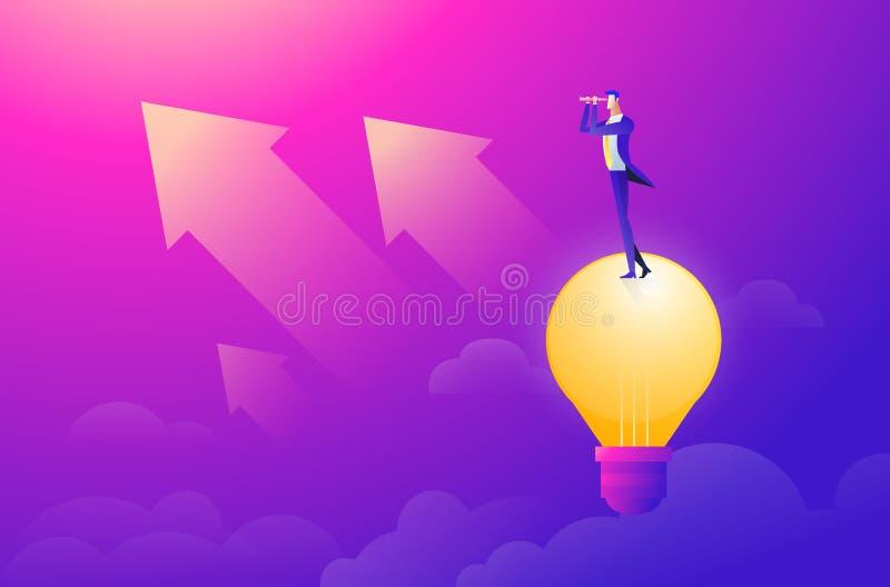 Vuelo del hombre de negocios en el cielo en el globo y el planeamiento del aire caliente a continuación Mirada a trav?s del catal stock de ilustración