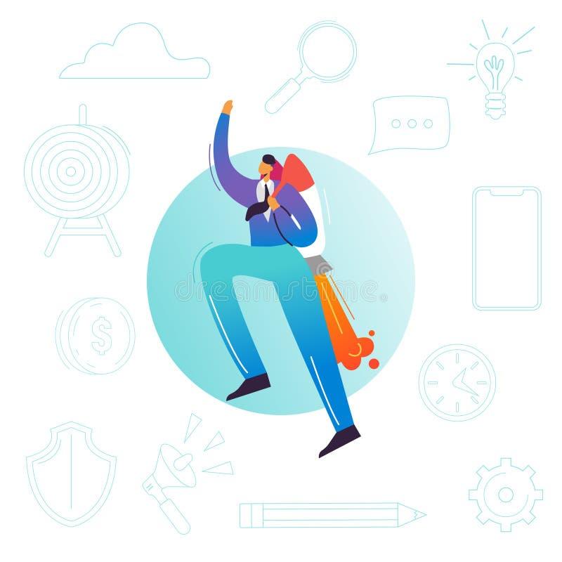 Vuelo del hombre de negocios en un cohete Puesta en marcha del negocio, alza de la carrera, concepto del logro del éxito Carácter libre illustration