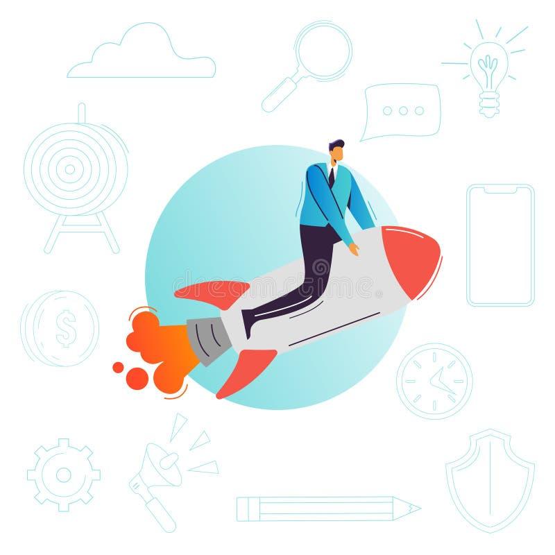 Vuelo del hombre de negocios en un cohete Puesta en marcha del negocio, alza de la carrera, concepto del logro del éxito Carácter stock de ilustración